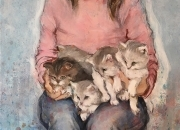 PORTRAIT WITH CATS, 65х50, oil on canvas, 2020